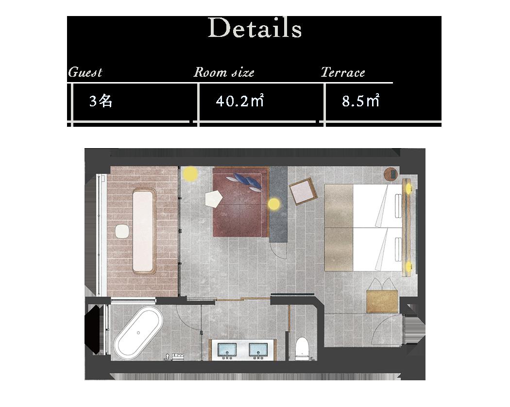 【Details】Guest:3名 Room size:40.2m Terrace:8.5m